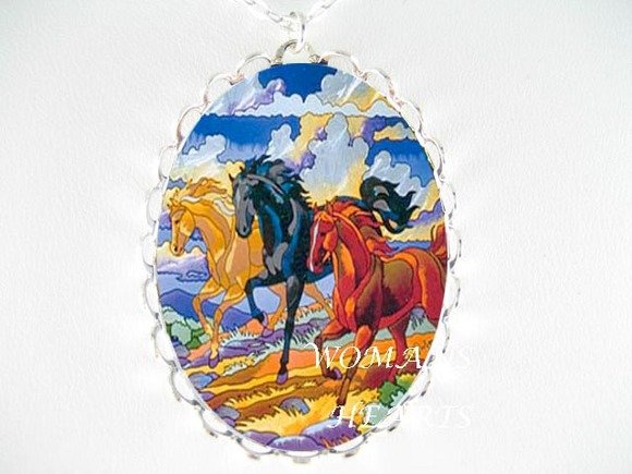 3 BLACK STALLION HORSE RUNNING CAMEO PORCELAIN NECKLACE