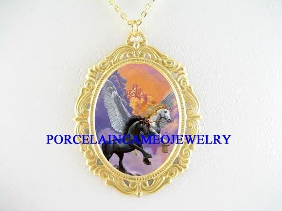 SOARING UNICORN PEGASUS HORSE PORCELAIN CAMEO NECKLACE