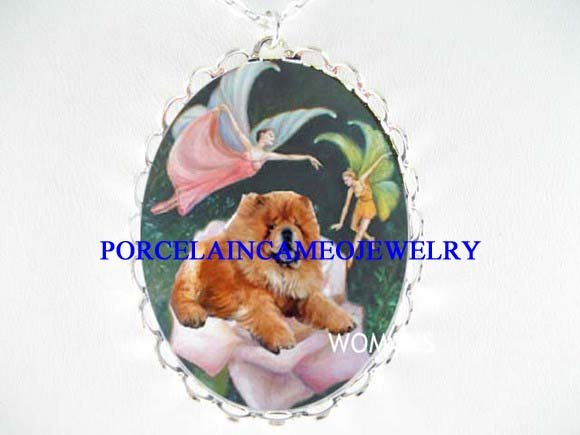 CHOW CHOW DOG WITH ROSE FAIRY PORCELAIN NECKLACE