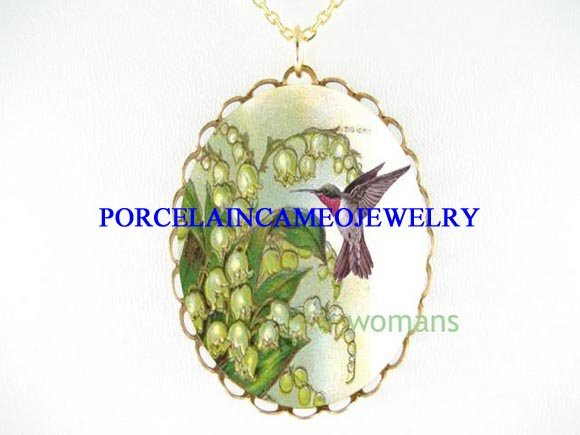 HUMMINGBIRD LILY OF THE VALLEY PORCELAIN CAMEO NECKLACE