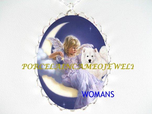 SAMOYED DOG ANGEL MOON FAIRY PORCELAIN CAMEO NECKLACE