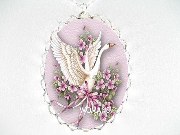 SWAN VOILET FORGEGT ME NOT CAMEO PORCELAIN NECKLACE