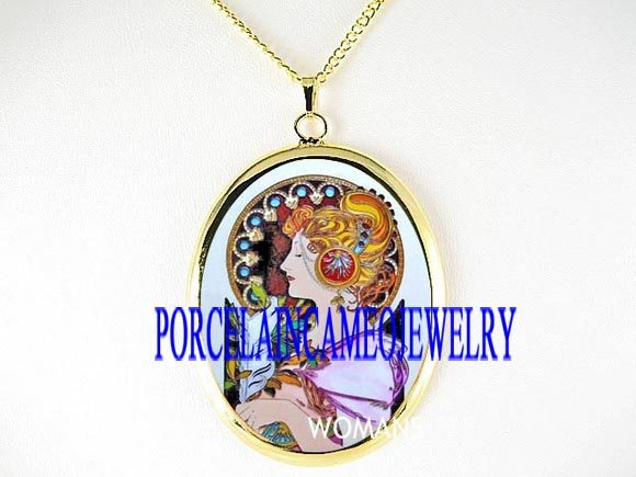 ALPHONSE MUCHA LADY FEATHER PORCELAIN CAMEO NECKLACE