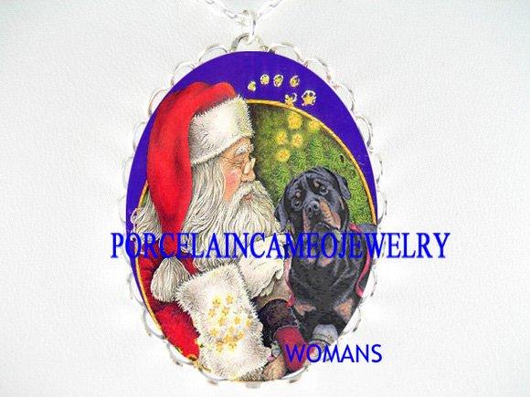 SANTA TICKLING Rottweiler DOG CAMEO PORCELAIN NECKLACE