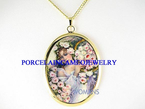 VICTORIAN ROSE ANGEL FAIRY PORCELAIN CAMEO NECKLACE
