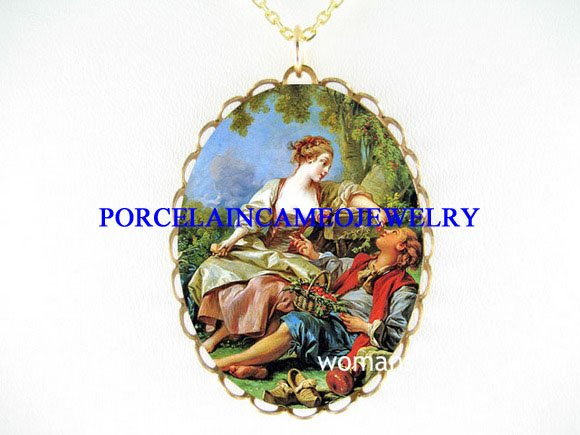 VICTORIAN COURTING COUPLES PORCELAIN CAMEO NECKLACE