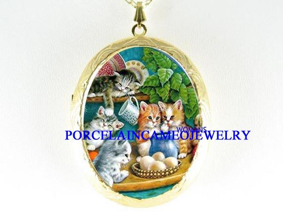 5 KITTEN CAT AT KITCHEN PORCELAIN CAMEO LOCKET NECKLACE