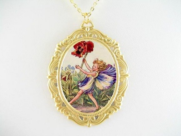 PANSY FLOWER FAIRY PORCELAIN CAMEO PENDTANT NECKLACE