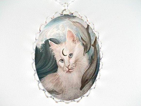 WHITE CAT & 2 DOLPHIN PORCELAIN CAMEO PENDANT NECKLACE