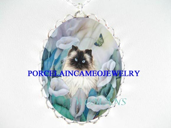 HIMALAYAN CAT CALLA LILY BUTTERFLY PORCELAIN NECKLACE