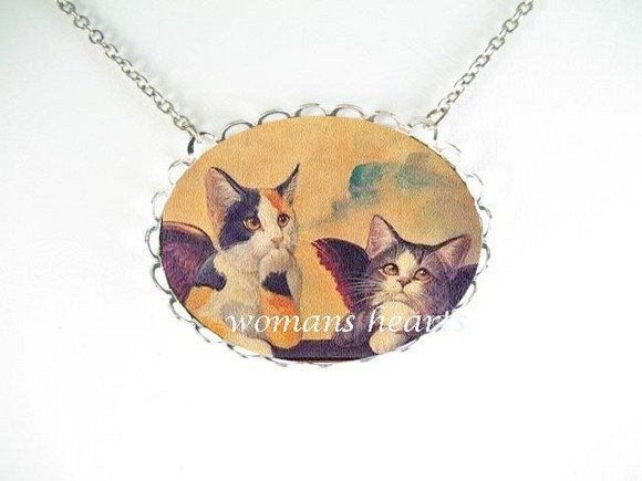 2 RAPHAEL ANGEL CAT CHERUB PORCELAIN CAMEO NECKLACE