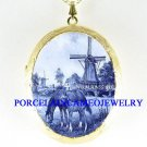 DELFT BLUE MARE FOAL HORSE WINDMILL PORCELAIN LOCKET