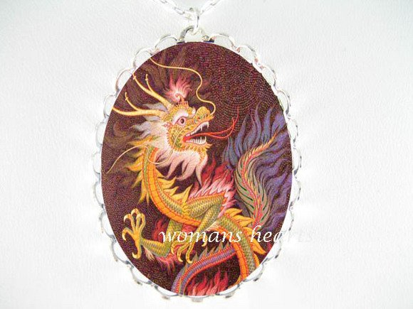 RAINBOW CHINESE DRAGON PORCELAIN CAMEO PENDANT NECKLACE