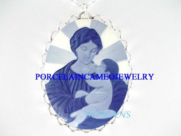 DANISH BLUE MADONNA & CHILD PORCELAIN CAMEO NECKLACE