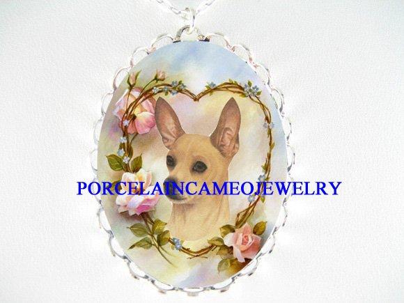 SMOOTH CHIHUAHUA DOG ROSE HEART PORCELAIN CAMEO NECKLAC