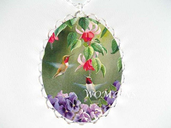 2 HUMMINGBIRD PANSY PORCELAIN CAMEO PENDANT NECKLACE
