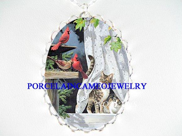 3 CARDINAL BIRD W/2 CAT WINDOW PORCELAIN CAMEO NECKLACE