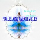 LOTUS WATER LILY FAIRY PORCELAIN CAMEO PENDANT NECKLACE