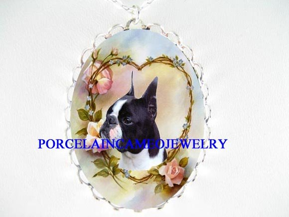 BOSTON TERRIER DOG ROSE HEART CAMEO PORCELAIN NECKLACE