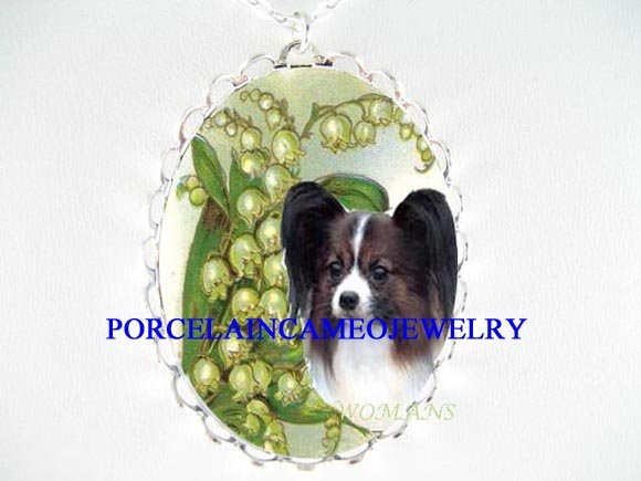 PAPILLON DOG WITH LILY OF THE VALLEY CAMEO NECKLACE