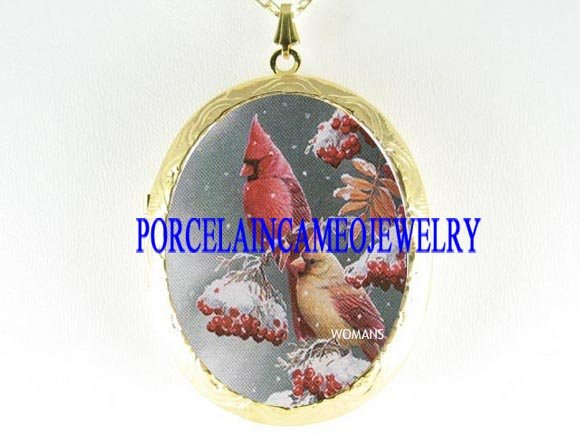 2 CARDINAL BIRD SNOW BERRY PORCELAIN LOCKET NECKLACE