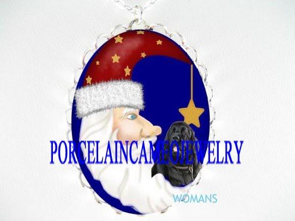 NEWFOUNDLAND DOG SANTA MOON PORCELAIN CAMEO NECKLACE