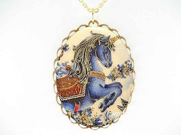 BLUE  UNICORN HORSE FLOWER PORCELAIN CAMEO NECKLACE