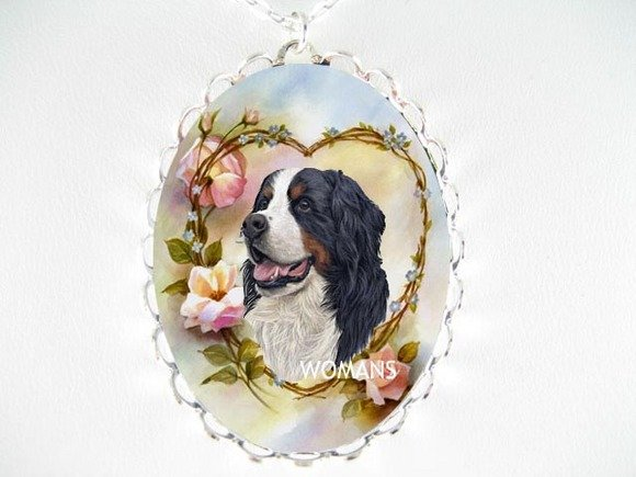 BERNESE MOUNTAIN FORGETMENOT CAMEO PORCELAIN NECKLACE