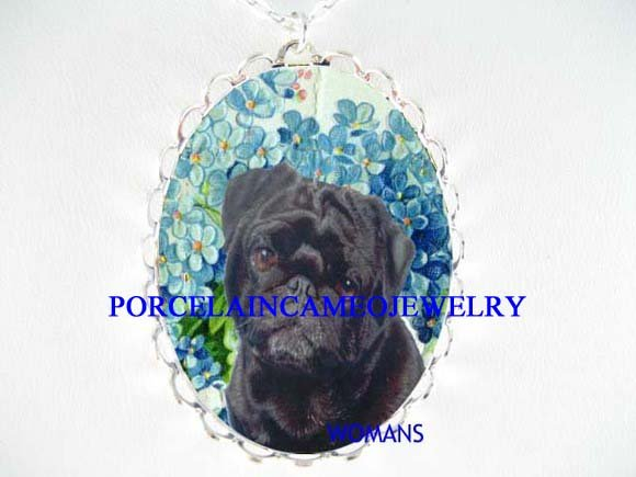 BLACK PUG FORGET ME NOT PORCELAIN CAMEO PENDT NECKLACE