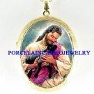 JESUS HOLD BLACK LAMB PORCELAIN CAMEO LOCKET NECKLACE