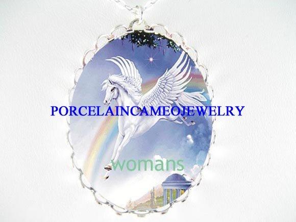 WHITE PEGASUS HORSE & RAINBOW CAMEO PORCELAIN NECKLACE