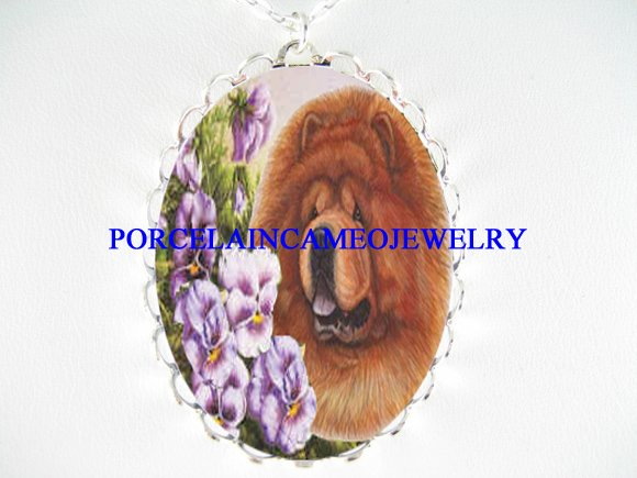 CHOW CHOW DOG VIOLET PANSY PORCELAIN CAMEO NECKLACE