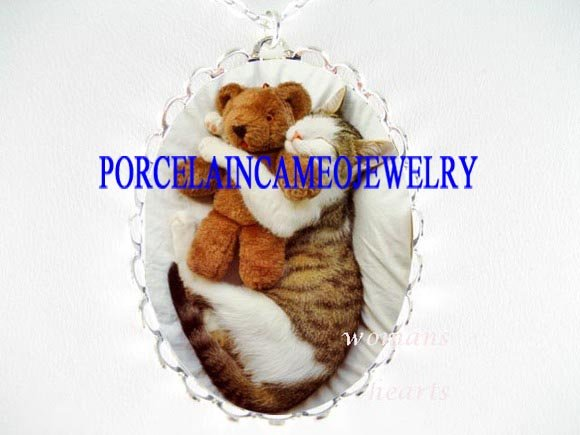 WHITE CAT CUDDLING TEDDY BEAR PORCELAIN CAMEO NECKLACE
