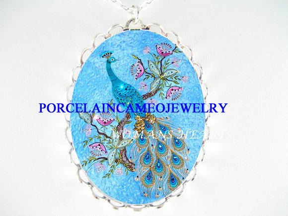 BLUE PEACOCK BIRD BUTTERFLY PORCELAIN CAMEO NECKLACE