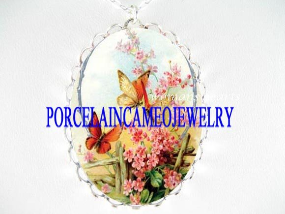 BUTTERFLY PINK FORGET ME NOT PORCELAIN CAMEO NECKLACE