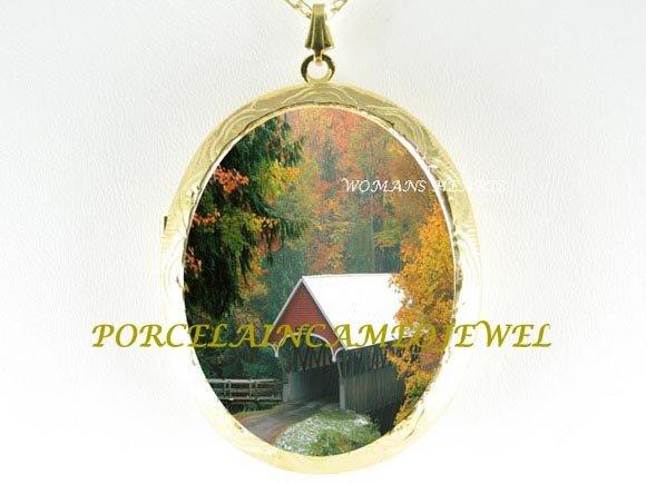 AUTUMN BRIDGE FOREST CAMEO PORCELAIN LOCKET NECKLACE