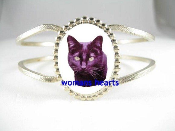 BLACK CAT PORCELAINCAMEO ANTIQUE HINGE BANGLE BRACELET