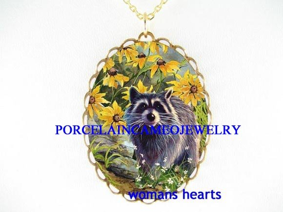 RACCOON WITH BROWN EYED SUSAN PORCELAIN CAMEO NECKLACE