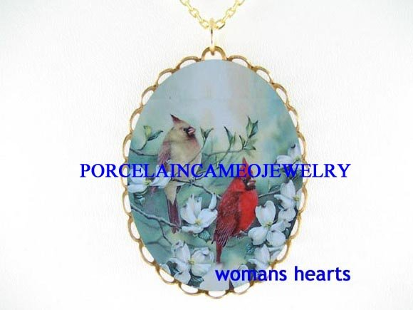 2 CARDINAL BIRD COUPLE DOGWOOD CAMEO PORCELAIN NECKLACE