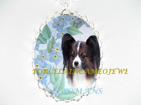 PAPILLON DOG FORGET ME NOT CAMEO PORCELAIN NECKLACE