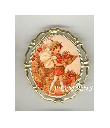 VICTORIAN STRAWBERRY FAIRY CAMEO PORCELAIN PIN BROOCH