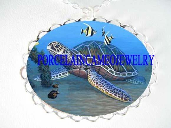 OCEAN SEA TURTLE ANGEL FISH PORCELAIN CAMEO NECKLACE