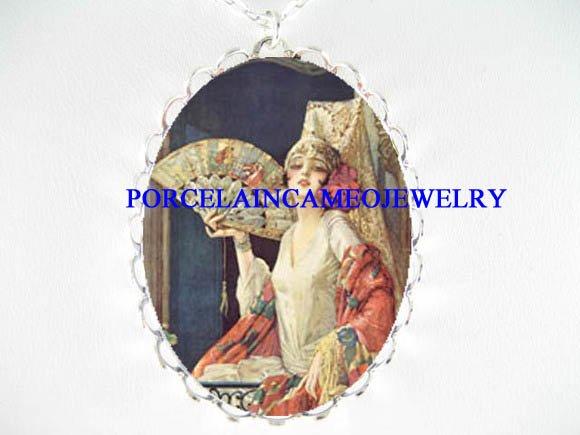 VICTORIAN FLAPPER LADY FAN PORCELAIN CAMEO NECKLACE