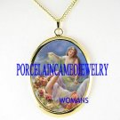 2 VICTORIAN ANGEL FAIRY SISTER PORCELAIN CAMEO NECKLACE