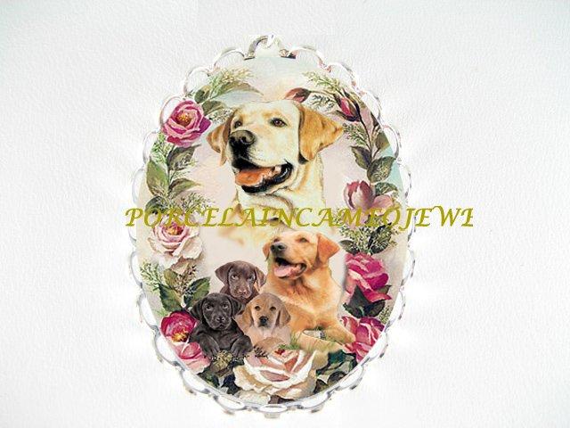 LABRADOR RETRIEVER DOG MOM PUPPY ROSE CAMEO PIN BROOCH