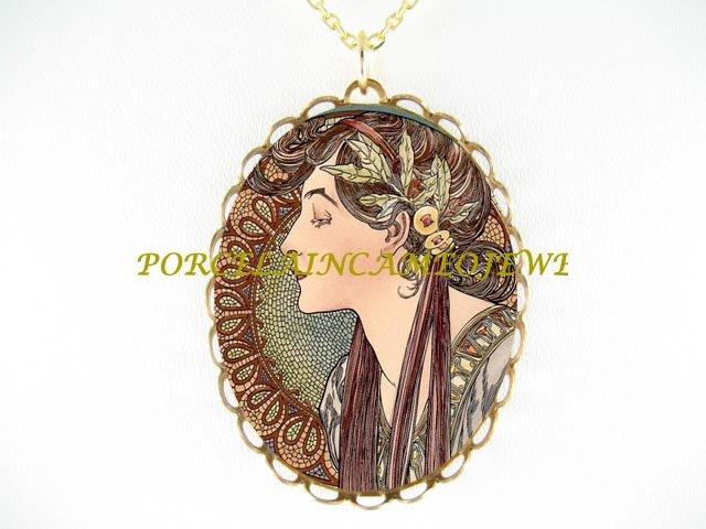 ALPHONSE MUCHA LAUREL LADY PORCELAIN CAMEO NECKLACE