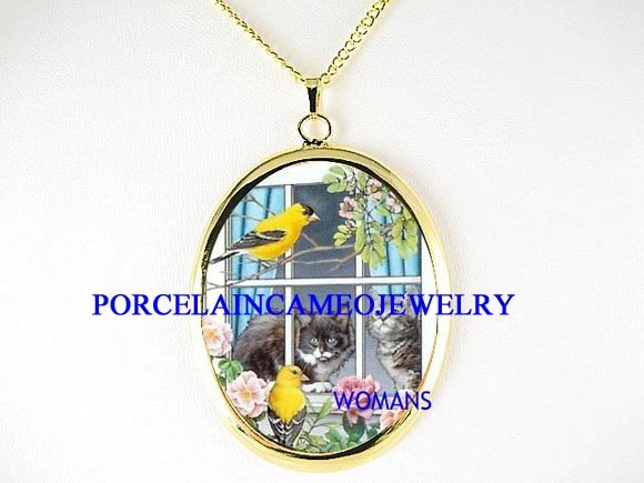 2 KITTY CAT WINDOW ROSE BIRD CAMEO PORCELAIN NECKLACE