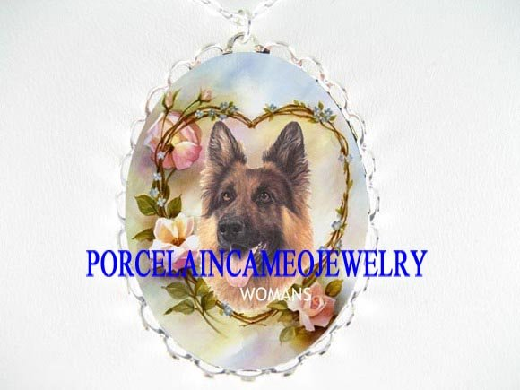 GERMAN SHEPHERD FORGET ME NOT CAMEO PORCELAIN NECKLACE
