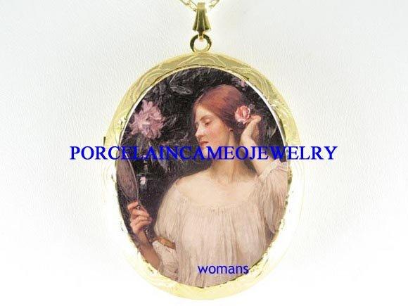 JOHN WATERHOUSE ROSE LADY PORCELAIN LOCKET NECKLACE