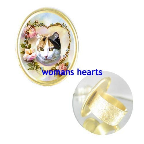 CALICO CAT FORGET ME NOT ROSE CAMEO PORCELAIN RING 5-9